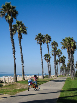 cycliste à huntington beach
